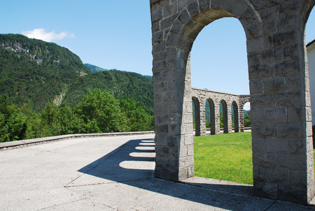 Arches of the Italian Charnal House located on Gradic Hill in Kobarid, in the Littoral region of north east Slovenia. Opened in 1938, it contains the remains of 7,000 Italian solders who were killed in the First World War.
