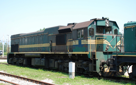 slovenian: The engine of an old Slovenian train at Celje train station