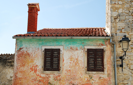 tatty: An abandoned historic old building in the central Istrian medieval hill town of Pican in Croatia. Editorial