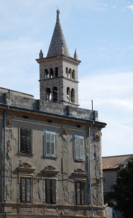 tatty: An historic old building in the southern Istrian town of Pula in Croatia. Stock Photo