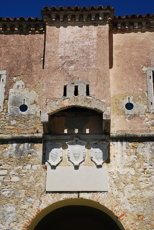 slits: The 14th century city gate in the medieval Istrian hill town of Motovun in central Croatia. Stock Photo