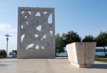 fascist: The communist era Monument to Fallen Fighters and Victims of Fascist Terror, a World War Two memorial in Rovinj, Croatia. Editorial