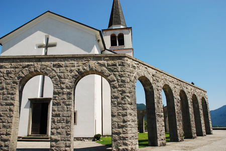 solders: Arches of the Italian Charnal House located on Gradic Hill in Kobarid, in the Littoral region of north east Slovenia. Opened in 1938, it contains the remains of 7,000 Italian solders who were killed in the First World War. The church Kostnica Cerkvijo Sv.