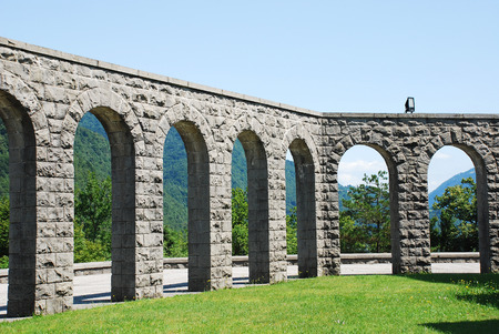 solders: Arches of the Italian Charnal House located on Gradic Hill in Kobarid, in the Littoral region of north east Slovenia. Opened in 1938, it contains the remains of 7,000 Italian solders who were killed in the First World War.