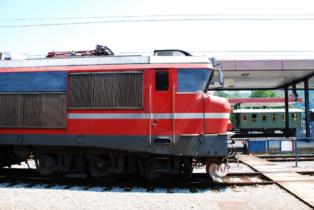 The engine of an old Slovenian train at Celje train station