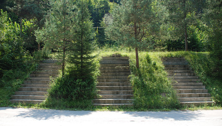 woodland sculpture: Gracnica, Slovenia - August 8th 2015. Part of The Living Wall Monument, a World War Two monument from the Yugoslav era, roadside outside the small village of Gracnica. The stairs show the names of three brigades - Sercer, Bracic and Tomsic.