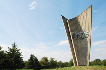 fascism: The Monument to Fallen Fighters and Victims of Fascism located in Plovanija, Croatia. This impressive World War Two monument was designed by Aleksandar Rukavina and built in 1981, but is now in a bad state of repair with mosiac tiles falling off.
