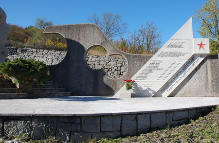 former yugoslavia: A memorial to the victims of World War 2 in Palchisce in present day Italy. The town was part of the former Yugoslavia during the war and is known as Palkisce in Slovenian.