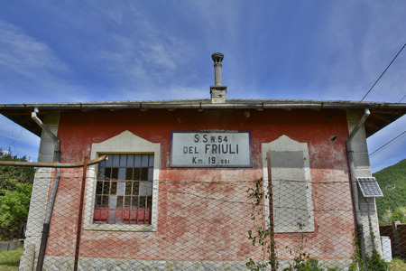 state owned: Soravilla, Italy - 30th April 2016. These buildings are used to store equipment and provide accommodation for workers on state owned roads. Many have fallen into disuse since the 1980s.