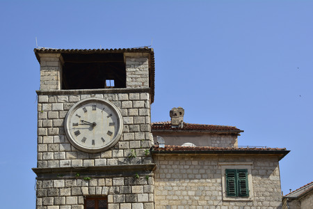 clocktower: The historic Kotor clock tower in Montenegro which dates from 1602