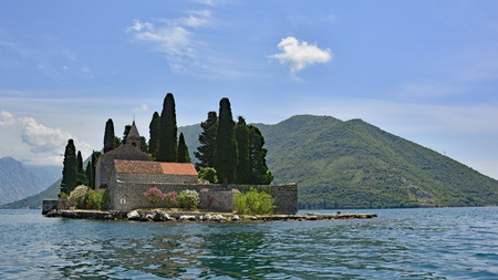 abbeys: The tiny St Georges Island in Kotor Bay, Montenegro, also known as the Island of the Dead. The island contains a 12th century Benedictine abbey and a cemetery.