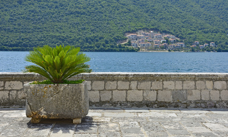 An old stone wall with a plant on Our Lady of the Rock island in Kotor Bay, Montenegro. The island was artificially created by locals using rocks. Stock Photo