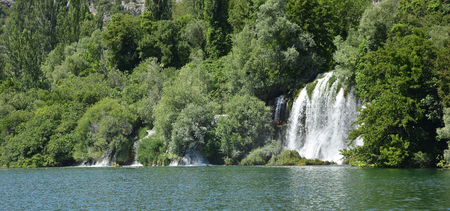 slap: Roski Slap waterfall on the River Krka in Krka National Park, Sibenik-Knin County, Croatia.