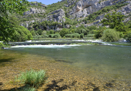 waterscapes: The Pearl Necklaces cascade on the River Krka in Krka National Park, Sibenik-Knin County, Croatia.