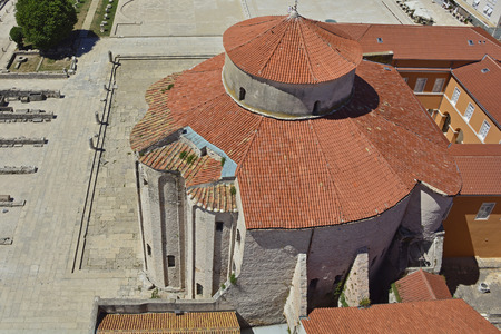 9th: St Donatus Church, the largest pre-Romanesque building in Croatia, was constructed in the 9th and 10th centuries. Photography taken from the top of St Anastasias Cathedral. Stock Photo