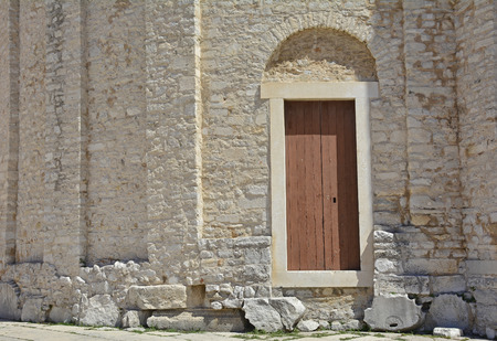 9th: A door in the historic St Donatus Church, the largest pre-Romanesque building in Croatia, which was constructed in the 9th and 10th centuries. Stock Photo