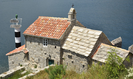 church of our lady: The historic Gospa od Andela Church - Our Lady of the Angels - in Kotor Bay, Montenegro. The church is believed to date fom 1584, and has recently been restored.