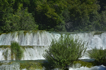 calcium carbonate: Skradinski Buk waterfall on the River Krka in Krka National Park, Sibenik-Knin County, Croatia. The  waterfall consists of travertine barriers and a total of 17 different water falls, it is considered to be one of the most beautiful calcium carbonate wate