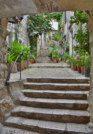 An old historic road in Dubrovnik Old Town.