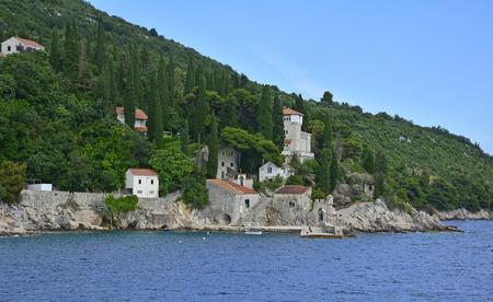 neretva: The historic tiny harbour of Trsteno in Dubrovnik�??Neretva County on the Croatian coast. Stock Photo