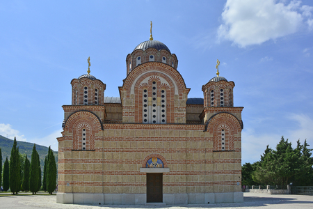 republika: The Hercegovacka Gracanica Monastery on Crkvina Hill above Trebinje in Bosnia. The monastery was built in 2000 and is an exact copy of the Gracanica Monastery in Kosovo.