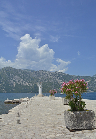 waterscapes: The artificially created island Our Lady of the Rock island in Kotor Bay, Montenegro. A small oleander plant can be seen in the foreground and a small lighthouse in the background