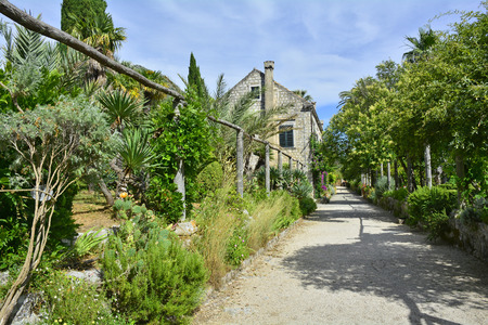 neretva: Trsteno Arboretum, in the Dubrovnik Neretva County on the Croatian coast, was established in the 15th century as a summer residence. Stock Photo