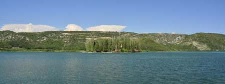 waterscapes: Visovac Island in the River Krka in Krka National Park, Sibenik-Knin County, Croatia. Stock Photo