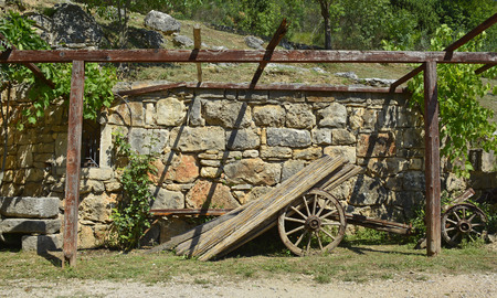 sone: An old disused wooden cart in Croatia. Stock Photo