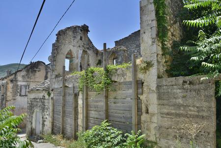 derelict: Historic derelict buildings in the southern city of Trebinje in Republika Srpska, Bosnia and Herzegovina.