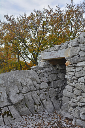 major battle: A World War One bunker in the Carso karst limestone area of Friuli Venezia Giulia, near Aurisina, Italy. The area was a major theatre of battle during the war and many remnants still remain today.