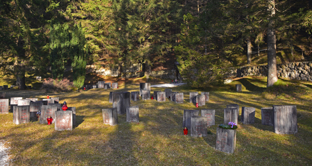 Begunje, Slovenia - December 25th 2016. Gravestones at the Begunje Hostages Cemetery. The small cemetry is a World War Two memorial.