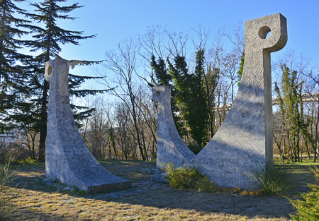 Crni Kal, Slovenia - 1st January 2017. The Monument to the Liberation War and to Victims of Fascist Violence, also known as the Monument to the Overseas Brigade. A 1966 monument to victims of the second world war Editorial