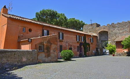 townhouses: Buildings in the old village or borgo of Ostia Antica near Rome, Italy
