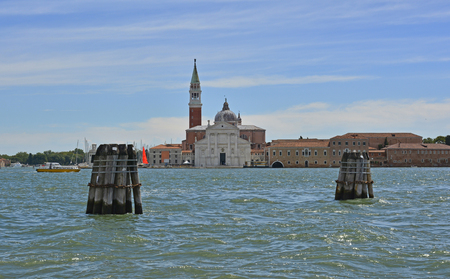 The island of Giudecca in the Dorsoduro quarter of Venice, viewed from the opposite side of the Giudecca canal. The island of Giudecca in the Dorsoduro quarter of Venice, viewed from the opposite side of the Giudecca canal at the Punta Della Dogana. The 1 Stock Photo