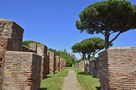The ruins of Ostia Antica near Rome, Italy. It was Romes ancient port before the river silted, it fell into decay with the end of the Roman empire and was abandoned in the 9th century