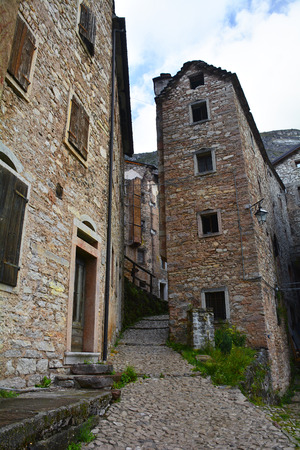 The hill village of Casso in Friuli Venezia Giulia, north east Italy. With a population now of only 35, the village is famous locally for having being evacuated following the 1963 Vajont Dam disaster.
