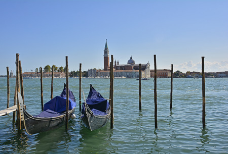 The waterfront of Venice as seen from near Piazza San Marco looking towards the church of San Giorgio Maggiore