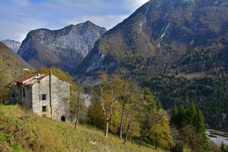 The autumn landscape around the small hill village of Erto in Friuli Venezia Giulia, north east Italy.