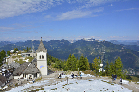 Lussari, Italy - September 23rd 2017. The small village of Lussari on Monte Lussari, Friuli Venezia Giulia, north east Italy. The village is within a ski resort area but at this time of year it is still out of season