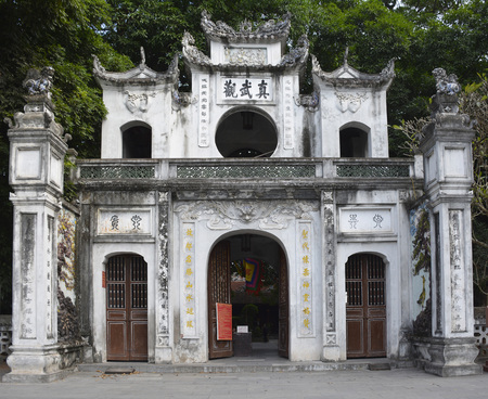 Hanoi, Vietnam - 16th December 2017. The gateway outside the historic Quan Thanh Temple in the Ba Dinh district of Hanoi, Vietnam. The temple, also known as Tran Vo Temple, was built between 1010 and 1028