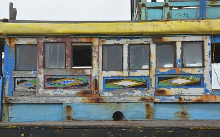 An old abandoned fishing boat in Mui Ne Fishing Village, Binh Thuan Province, Vietnam 写真素材