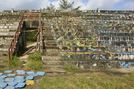 A stadium in an abandoned park in south east asia