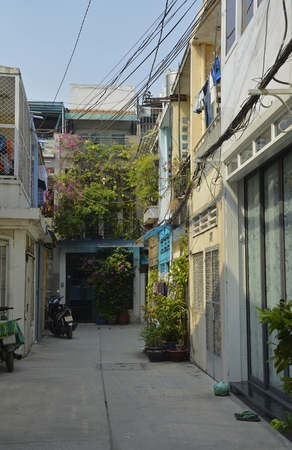 A small residential back street in the Tran Hung Alleys area of District 1 in Saigon.