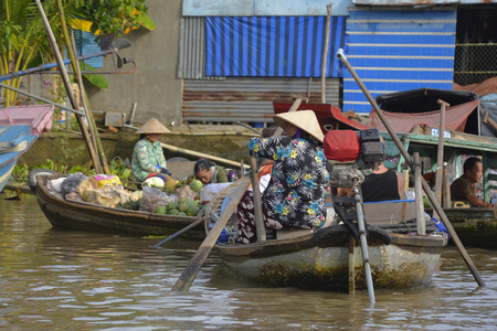 Phong Dien, Vietnam - December 31st 2017. A boat on the river at the Phong Dien Floating Market near Can Tho in the Mekong Delta