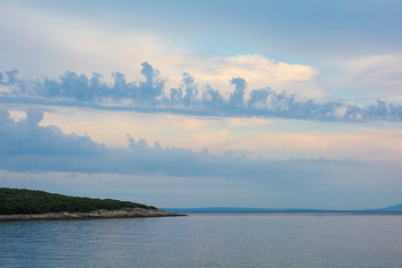 Summer dusk sky and clouds at Duga Uvala in Istria, Croatia