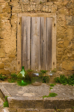 An old door in the historic hill village of Oprtalj in Istria, Croatia Stok Fotoğraf