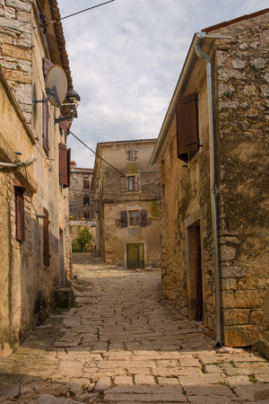 A street in the historic hill village of Bale (also called Valle) in Istria, Croatia