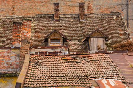 Old tiled roofs in back street Osijek, Osijek-Baranja County, Slavonia, eastern Croatia