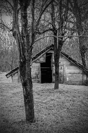 A wooden hut in the small village of Muzilovcica in Sisak-Moslavina County in central Croatia Stock Photo - 120087764